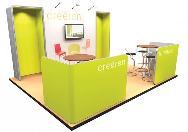 Design-Messestand 5x4 m mit Sitzecken PremiumFrame C3