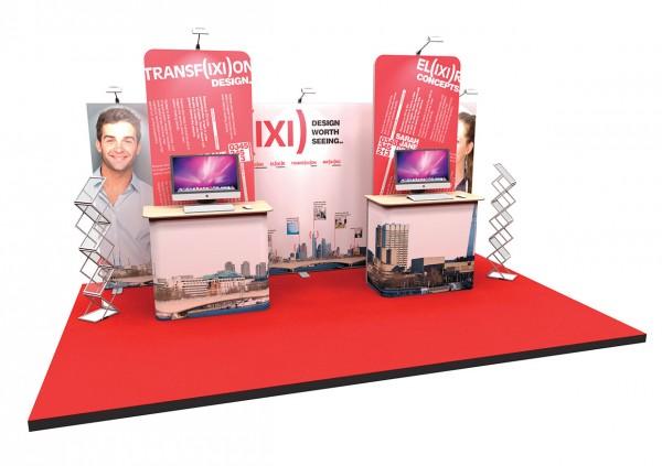 Messestand 5x2 m mit Info-Terminals PremiumFrame B8