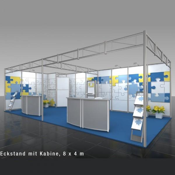 OctaQuick Eckstand mit Kabine (8 x 4m)