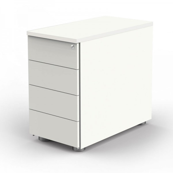 Anstell-Container für Steh-Sitztisch weiß