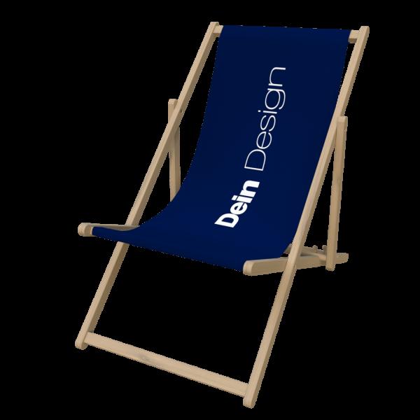 Liegestuhl mit Druck Holz Natur Logo