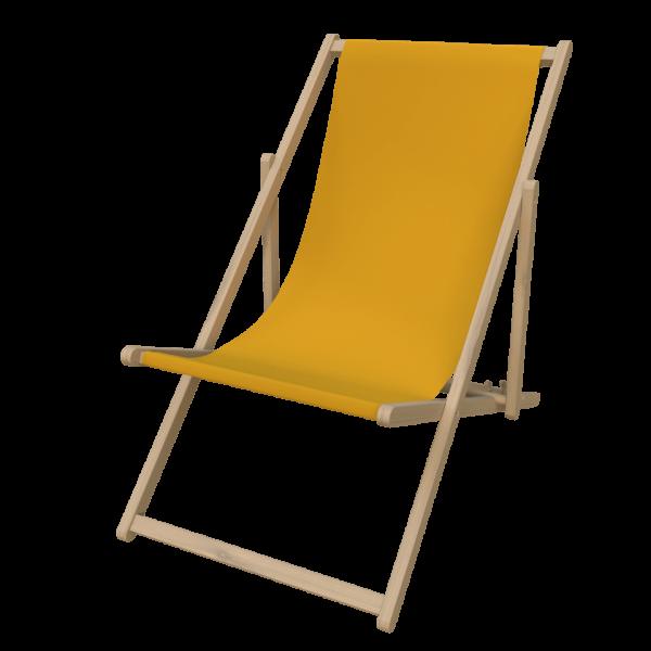 Liegestuhl mit Druck Holz Natur gelb