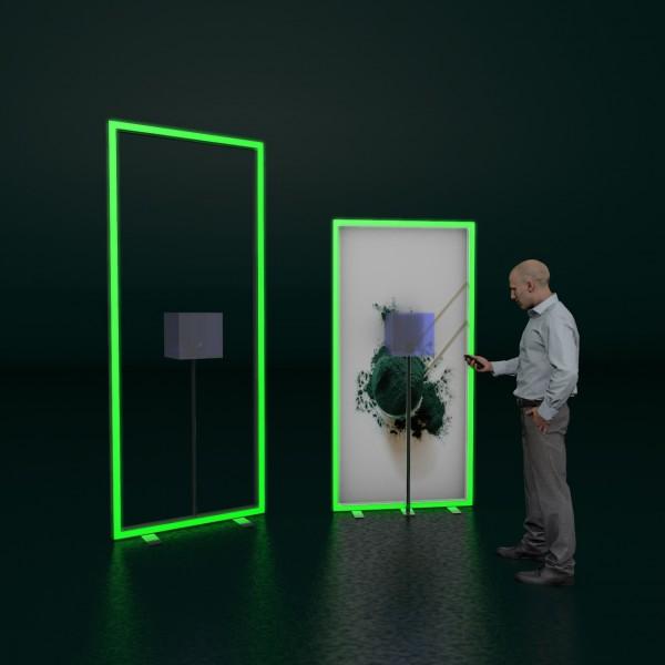 Leuchtkontur mit Acrylglas-Würfel