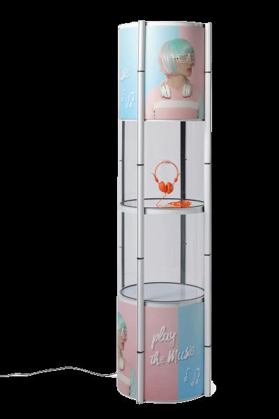 Faltvitrine Twist-it weiß mit LED